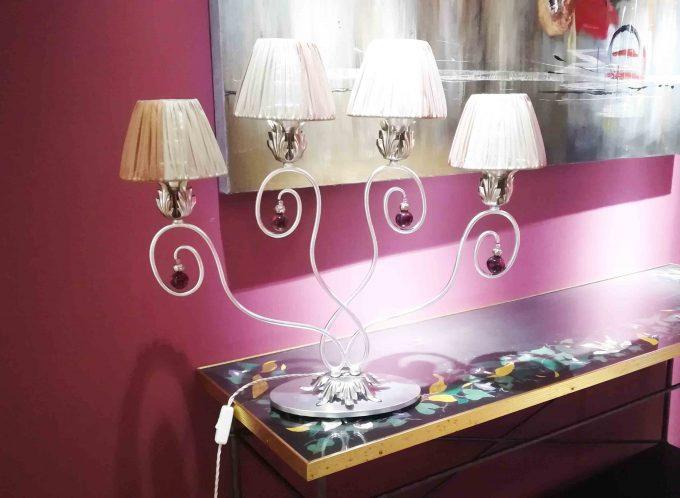 Lampada taffettà e cristalli