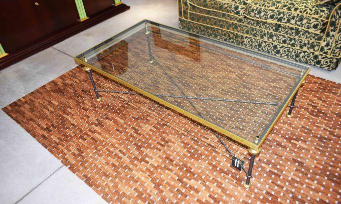Tavolino ferro con piano cristallo