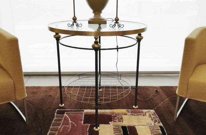 Tavolino ferro ottone e cristallo
