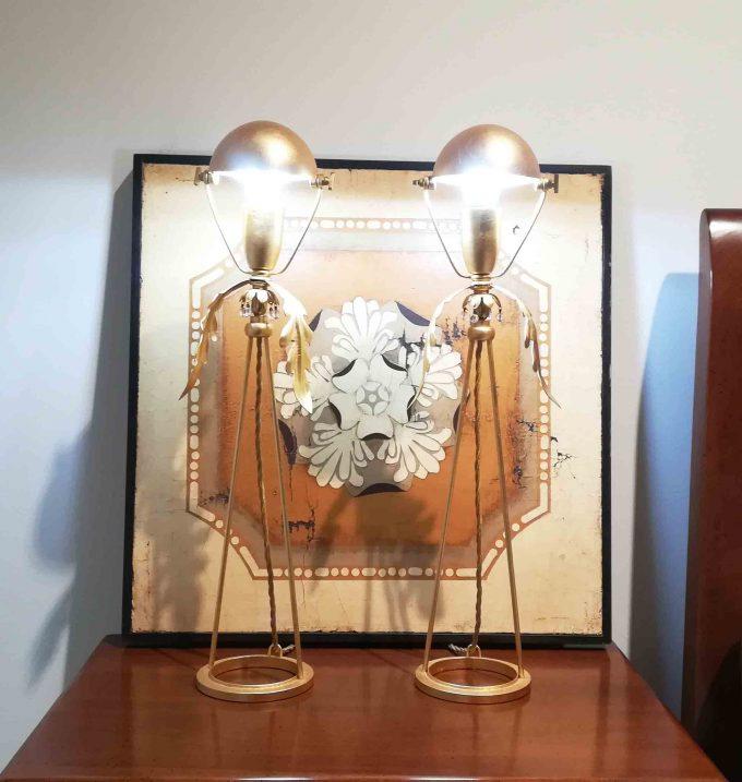 Lampada da tavolo in foglia oro
