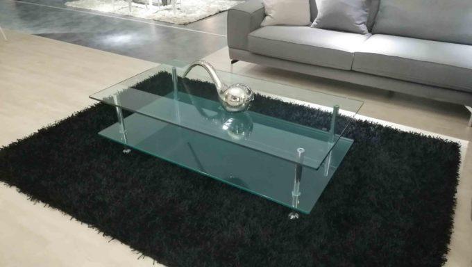 Tavolinetto 2 piani cristallo