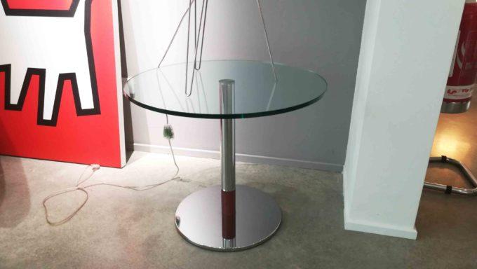 Tavolino tondo cromo e vetro