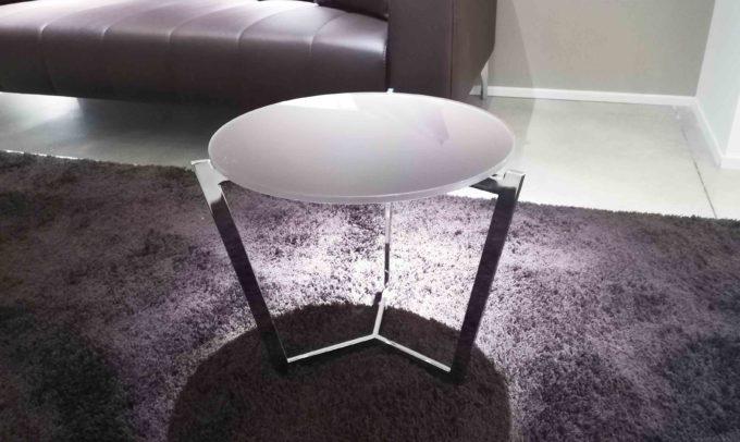 Tavolino piano bianco piede cromo
