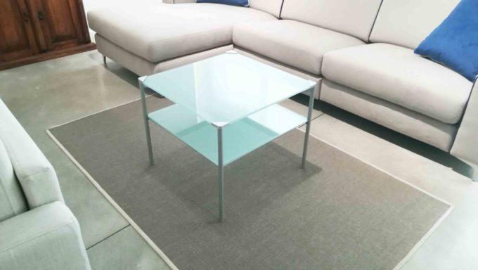 Tavolino due piani vetro bianco