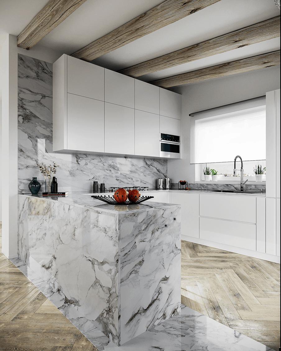 Cucina con marmo Progetti D'Amico Arreda