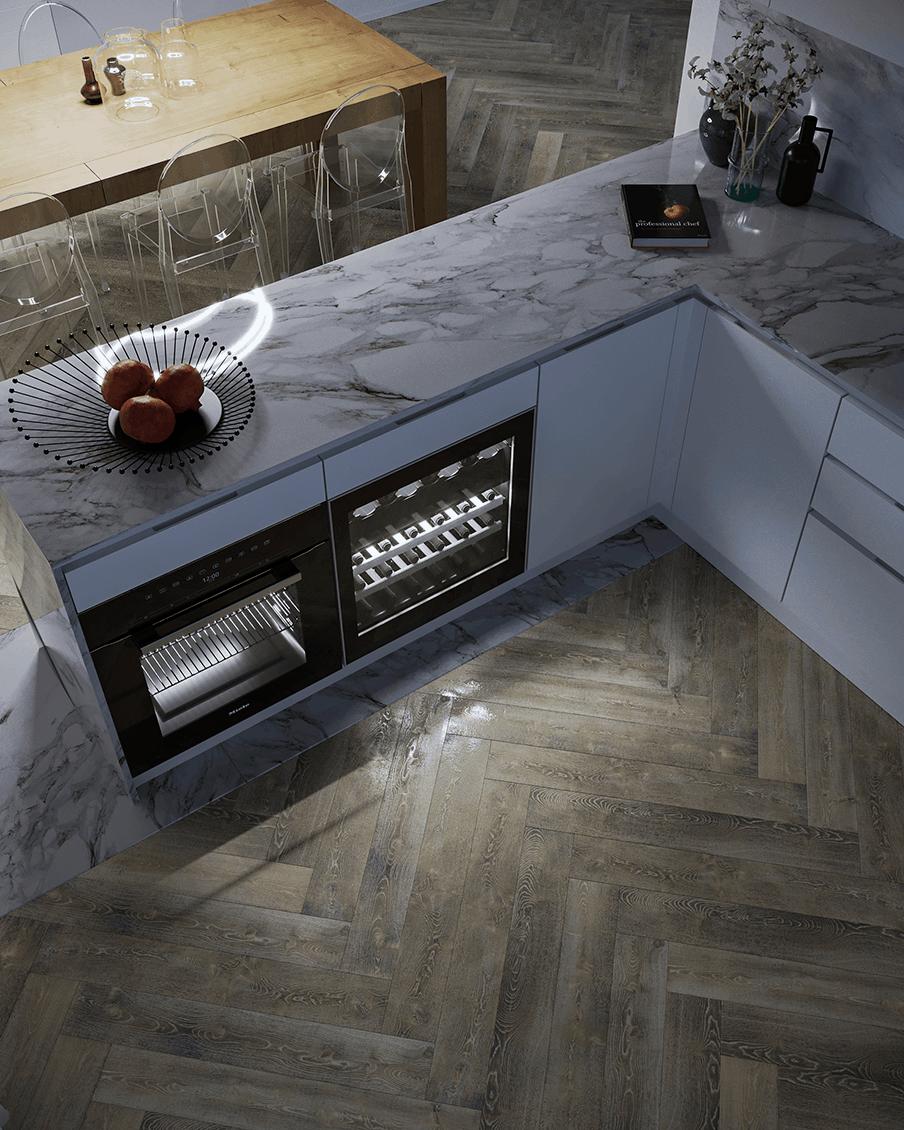 Cucina marmo e legno D'Amico Arreda