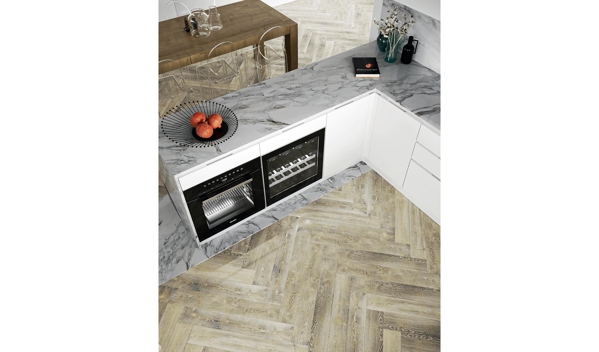 Cucina marmo e legno Progetti D'Amico Arreda Group