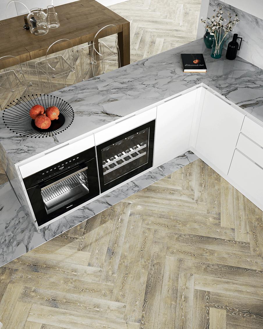 Cucina marmo e legno Progetti D'Amico Arreda