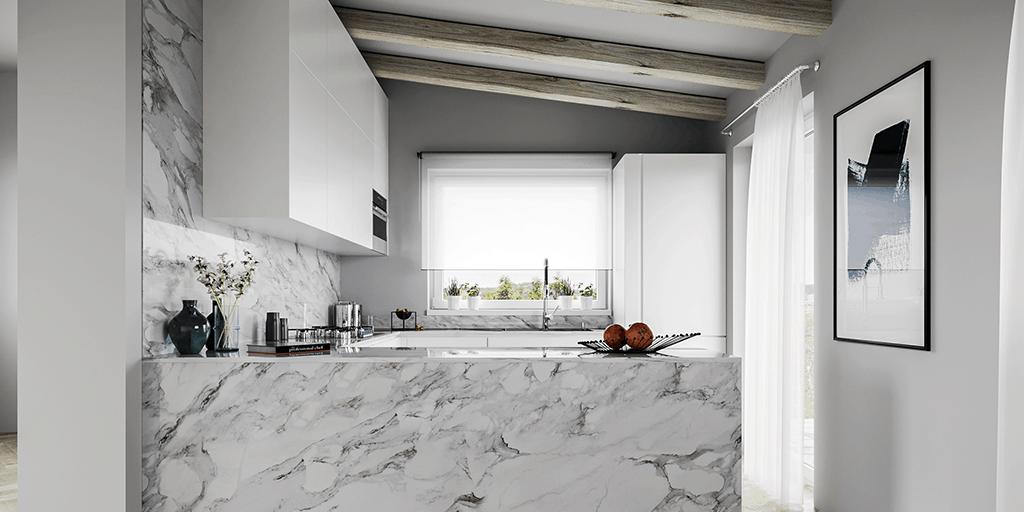 Progetto cucina in marmo D'Amico Arreda